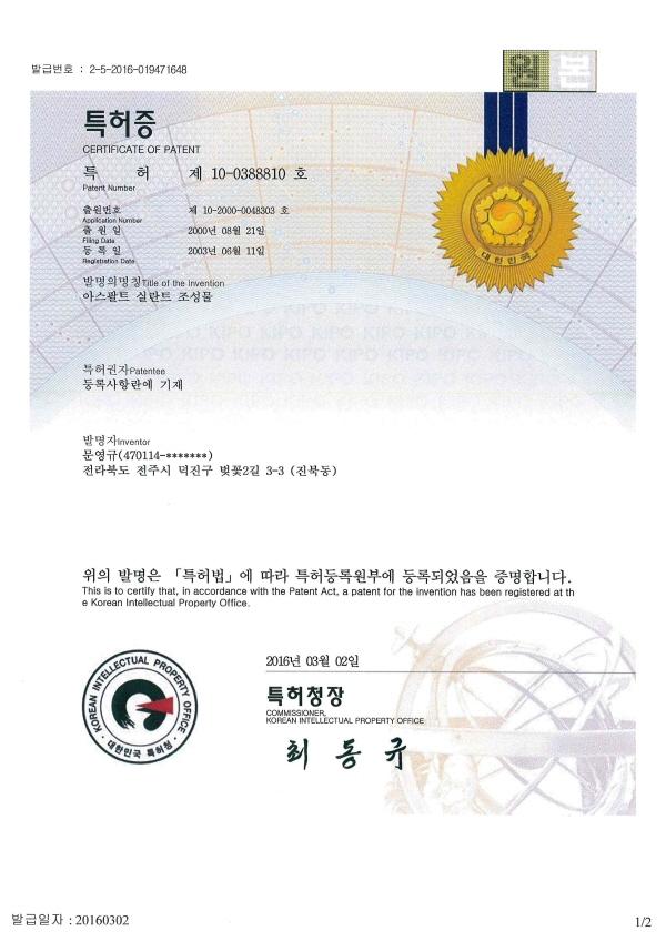 특허(10-0388810)